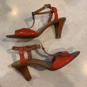 TAHARI Betsy Orange Strappy Heeled Sandals | 8.5